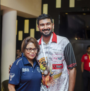 Nitin with Malaysian Darts Association(MDA) president, Nancy Ambrose