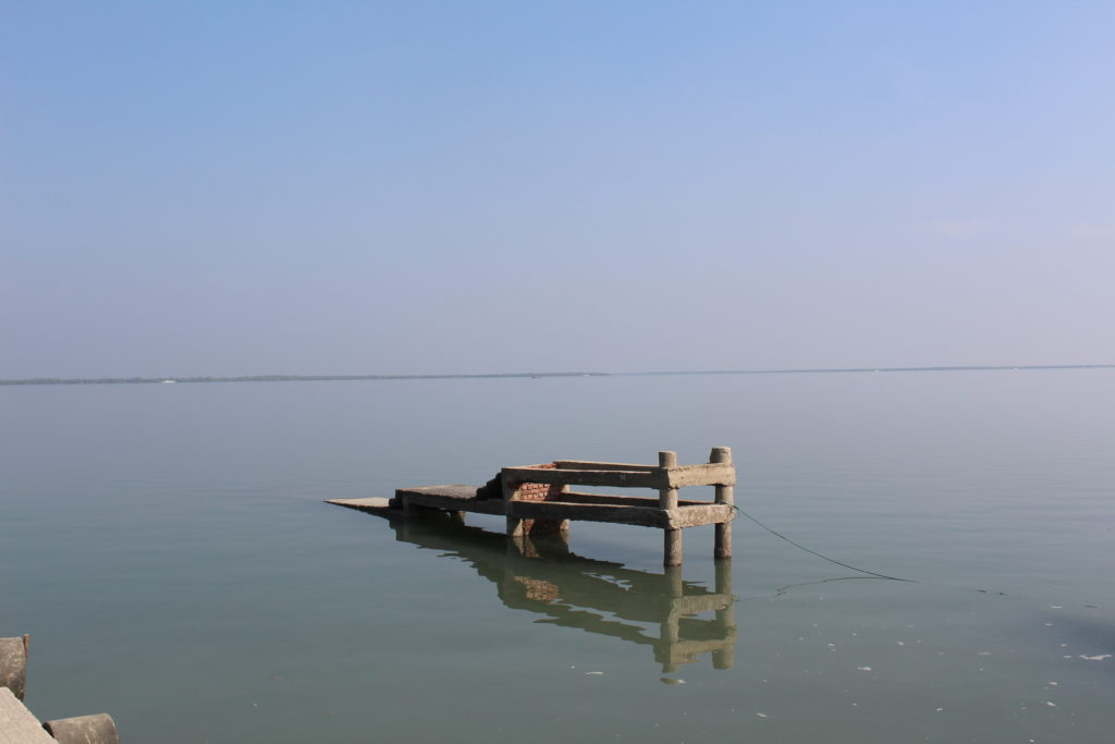 Field photographs of inundation of a river Jetty used by the villagers in Brajaballavpur, Sundarban (Source: Author)